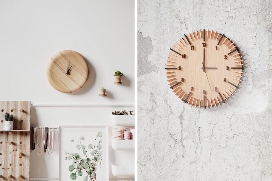 drewniany zegar ścienny